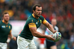 South Africa's Bismarck Du Plessis during the Rugby World Cup game at Twickenham Stadium, London. PRESS ASSOCIATION Photo. Picture date: Saturday October 17, 2015. See PA story RUGBYU South Africa. Photo credit should read: David Davies/PA Wire. RESTRICTIONS: Editorial use only. Strictly no commercial use or association without RWCL permission. Still image use only. Use implies acceptance of Section 6 of RWC 2015 T&Cs at: http://bit.ly/1MPElTL Call +44 (0)1158 447447 for further info.