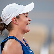 PARIS, FRANCE May 25.   Ashleigh Bartyof Australia reacts to a humorous moment while practicing with Svetlana Kuznetsova of Russia on Court Philippe-Chatrier with in preparation for the 2021 French Open Tennis Tournament at Roland Garros on May 25th 2021 in Paris, France. (Photo by Tim Clayton/Corbis via Getty Images)