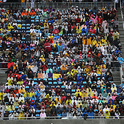 BCC fans watch the halftime show as it rains outside during the Florida Classic NCAA football game between the FAMU Rattlers and the Bethune Cookman Wildcats at the Florida Citrus bowl on Saturday, November 22, 2014 in Orlando, Florida. (AP Photo/Alex Menendez)