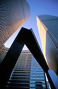 "World Trade Center seen with the ""Ideogram"" sculpture by James Rosati, Manhattan, New York City, New York, USA."
