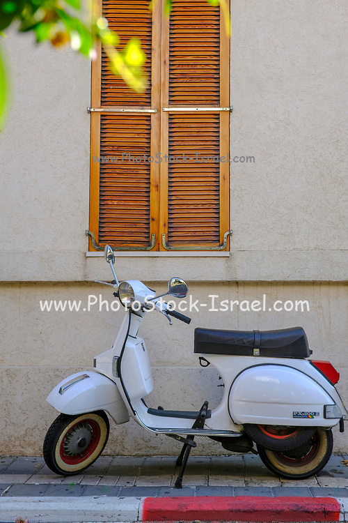 White Vintage Vespa motorbike