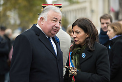 French Senate President Gerard Larcher and The Mayor of Mayor Anne Hidalgo in Paris on November 11, 2017 during the Armistice Day commemorations marking the end of WWI. Photo by<br /> ELIOT BLONDET/ABACAPRESS.COM