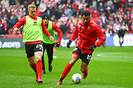Lincoln City's Matt Green warms up during the EFL Trophy Final match between Lincoln City and Shrewsbury Town at Wembley Stadium, London, England on 8 April 2018. Picture by John Potts.
