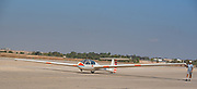 Glider being towed at takeoff Photographed in Israel