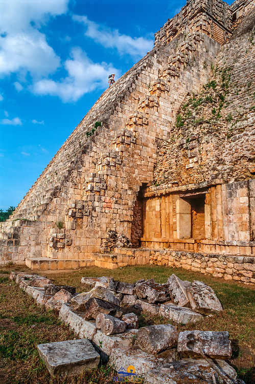 Uxmal # 6   Base of stairs at Temple of the wizard. Uxmal, Yucatan. Mexico.