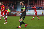 Forest Green Rovers Christian Doidge(9) scores a goal 1-2 and celebrates during the EFL Sky Bet League 2 match between Crawley Town and Forest Green Rovers at The People's Pension Stadium, Crawley, England on 6 April 2019.