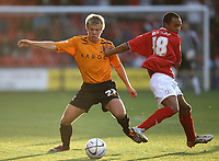 Photo: Rich Eaton.<br /> <br /> Crewe Alexandra v Hull City. Carling Cup. 15/08/2007. Hull's Nicky Featherstone (l) turns inside Crewe's Byron Moore.
