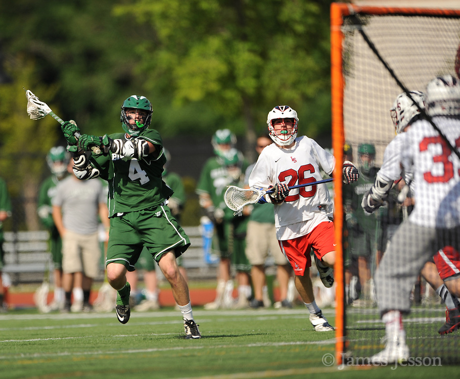 Billerica Memorial High School junior Drew Laundry rips a shot during the Division 1 North Championship game against Lincoln-Sudbury Regional High School at Connolly Memorial Stadium in Woburn, June 13, 2015.    (Wicked Local Photo/James Jesson).