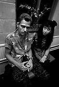 The Clash backstage at the Manchester Apollo - Paul Simonon and Pearl Harbour - 1980