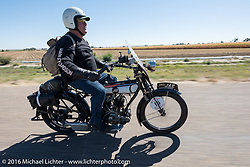 Chris Knoop of Australia riding his 1916 JAP J.A.Prestwich motorcycle through the eastern plains of Colorado during the Motorcycle Cannonball Race of the Century. Stage-9 Dodge City, KS to Pueblo, CO. USA. Monday September 19, 2016. Photography ©2016 Michael Lichter