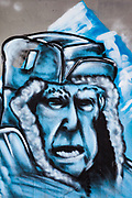 Street art, graffiti, adorns many Christchurch buildings, railway cuttings and public parks, Sir Edmund Hillary and Everest on mural after his death in 2008.