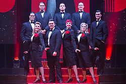 """© Licensed to London News Pictures. 17/06/2015. London, UK. L-R. Georgina Hagen, Ray Quinn, Rachel Stanley and Louise Dearman. UK premiere of """"Judy - The Songbook of Judy Garland"""" - a show celebrating the classic songs of Judy Garland - opens at the New Wimbledon Theatre, London before a UK tour. The show runs from 16 to 20 June 2015. Photo credit : Bettina Strenske/LNP"""