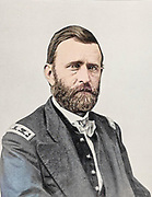 """Machine colorised portrait of Lieutenant-General Ulysses S. Grant 1864 from The American Civil War book and Grant album : """"art immortelles"""" : a portfolio of half-tone reproductions from rare and costly photographs designed to perpetuate the memory of General Ulysses S. Grant, depicting scenes and incidents in connection with the Civil War Published  in Boston and New York by W. H. Allen in 1894"""