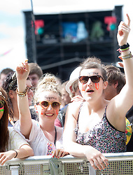 Fans at the main stage as Clanadonia open on Saturday at the main stage..T in the Park on Saturday 9th July 2011. T in the Park 2011 music festival takes place from 7-10th July 2011 in Balado, Fife, Scotland..©Pic : Michael Schofield.