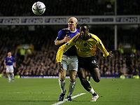 Photo: Paul Thomas.<br /> Everton v Arsenal. Carling Cup. 08/11/2006.<br /> <br /> Andy Johnson (L) of Everton and Johan Djourou.