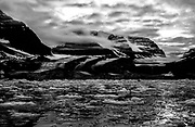 Black and white arctic landscape of the east coast of Greenland,Scoresby Sound, East Greenland