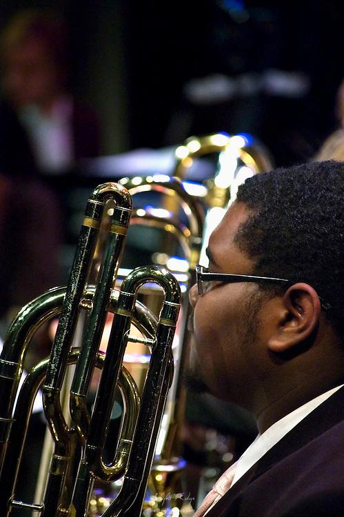 Travis Washington of the Jazz Band awaits his part in Rowan University's 2010 autumn Lab Band & Jazz Band presentation.