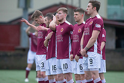 Stenhousemuir free kick wall. Stenhousemuir 1 v 0 Airdrie, Scottish Football League Division One played 26/1/2019 at Ochilview Park.