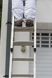A painter and decorator stands on a ladder.