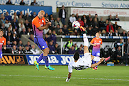 Borja of Swansea city tries an overhead kick at goal in the 2nd half but it goes over the bar.  EFL Cup. 3rd round match, Swansea city v Manchester city at the Liberty Stadium in Swansea, South Wales on Wednesday 21st September 2016.<br /> pic by  Andrew Orchard, Andrew Orchard sports photography.