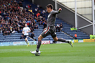 Rotherham United's Alex Revell shoots and scores this teams 1st goal of the game.Skybet football league one play off semi final, 1st leg match, Preston North End v Rotherham United at the Deepdale Stadium in Preston, England on Saturday 10th May 2014.pic by Chris Stading, Andrew Orchard sports photography
