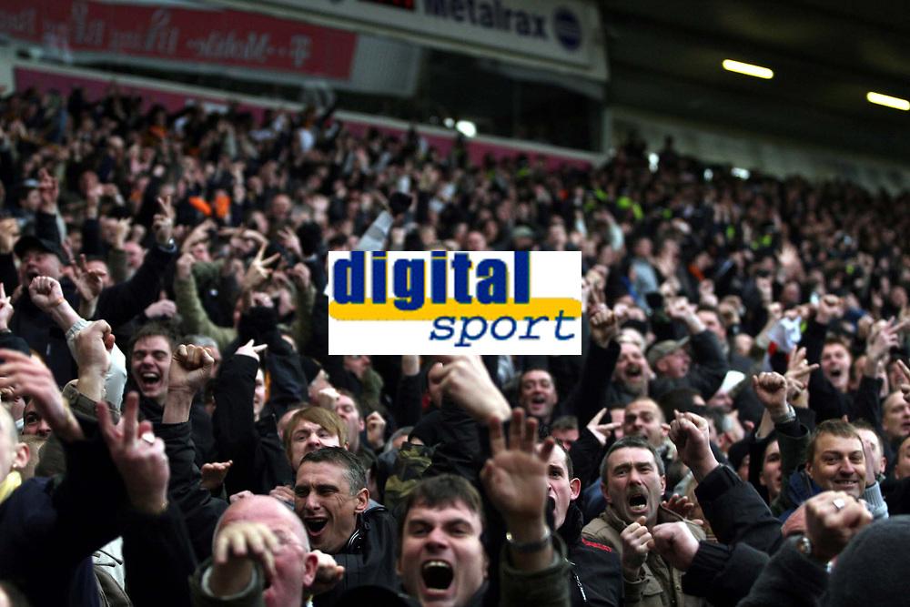 Photo: Mark Stephenson/Sportsbeat Images.<br /> West Bromwich Albion v Wolverhampton Wanderers. Coca Cola Championship. 25/11/2007.Wolve's fans celebrate after West Broms Zoltan Gera misses the penalty