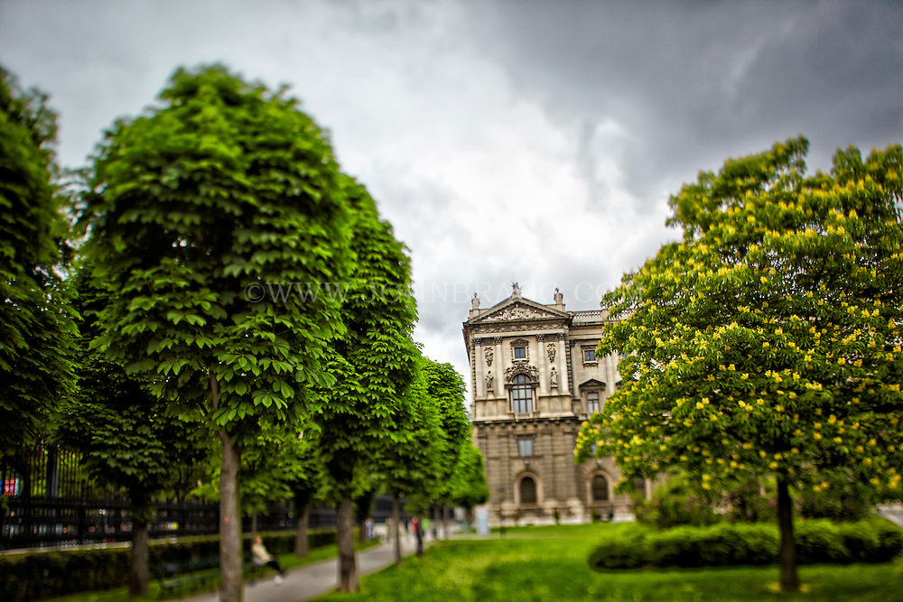 View through the trees at the west end of the Museum of Natural History, Vienna, Austria.