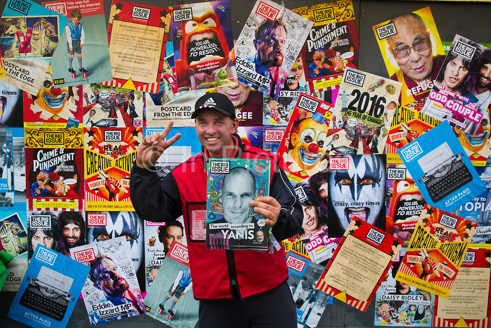 Big issue seller in the Shangri La field, Glastonbury Festival 2016. The Glastonbury Festival is the largest greenfield festival in the world, and is now attended by around 175,000 people. Its a five-day music festival that takes place near Pilton, Somerset, United Kingdom. In addition to contemporary music, the festival hosts dance, comedy, theatre, circus, cabaret, and other arts. Held at Worthy Farm in Pilton, leading pop and rock artists have headlined, alongside thousands of others appearing on smaller stages and performance areas.