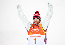 February 12, 2018 - Pyeongchang, SOUTH KOREA - 180212  Mikael Kingsbury of Canada celebrates after the menÃ•s moguls final during day three of the 2018 Winter Olympics on February 12, 2018 in Pyeongchang..Photo: Carl Sandin / BILDBYRN / kod CS / 57999_286 (Credit Image: © Carl Sandin/Bildbyran via ZUMA Press)