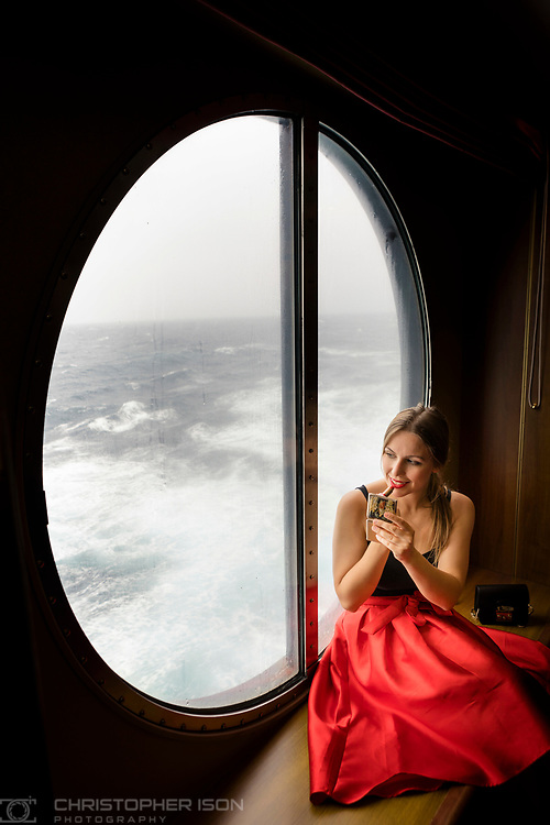 Marta Rusinowska, A Girl Who Travels pictured on board during the Transatlantic Fashion Week, 2017 being held on board Cunard's luxury ocean liner Queen Mary 2 currently on route to New York. <br /> Date: Tuesday September 5; 2017.<br /> For the second year running, the Transatlantic Fashion Week will bring together some of the most reputable names within the fashion industry to host seven days of runway shows, inspiring talks, glamorous dinners and exclusive unveilings. The crossing arrives in to New York on the 7th September the very same day as New York Fashion Week 2017 begins.<br /> <br /> Photograph by Christopher Ison © for Cunard.<br /> 07544044177<br /> chris@christopherison.com<br /> www.christopherison.com