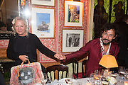 AGNES B;  Haider Ackermann , Charles Finch and  Jay Jopling host dinner in celebration of Frieze Art Fair at the Birley Group's Harry's Bar. London. 10 October 2012.
