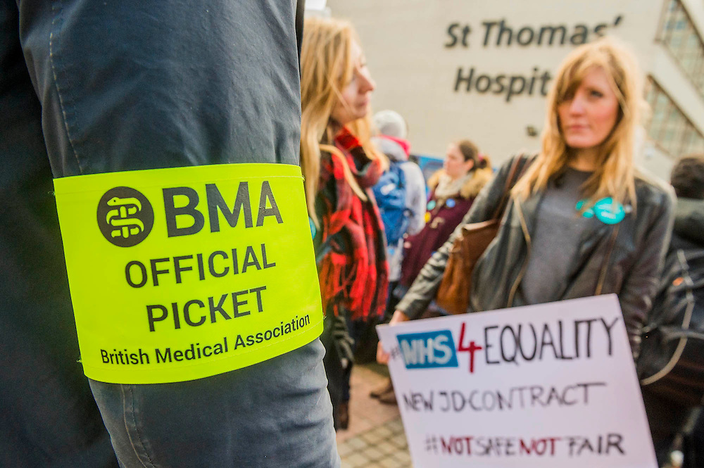 Doctors protests about the wording of the new contract which 'suggests women are worth less' - The picket line at St Thomas' Hospital. Junior Doctors stage another 48 hours of strike action against the new contracts due to be imposed by the Governemnt and health minister Jeremy Hunt.
