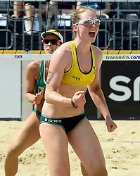 17-07-2014 NED: FIVB Grand Slam Beach Volleybal, Apeldoorn<br /> Poule fase groep G vrouwen - Agatha Bednarczuk and Julia Sude from Germany