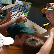Alex Blackwell signing autographs during the match between Australia and Pakistan in the Super 6 stage of the ICC Women's World Cup Cricket tournament at Bankstown Oval, Sydney, Australia on March 16 2009, Australia won the match by 107 runs. Photo Tim Clayton