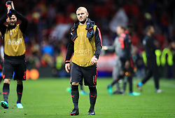 Arsenal's Jack Wilshere shows his dejection after the final whistle of the UEFA Europa League, Semi Final, Second Leg at Wanda Metropolitano, Madrid.