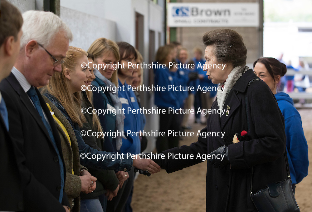The Opening of Kinfauns Stables Riding for the Disabled by HRH The Princess Royal President, Riding for the Disabled Association…06.10.16<br />The Princess Royal meets volunteers who works at Kinfauns Stables RDA<br />Picture by Graeme Hart.<br />Copyright Perthshire Picture Agency<br />Tel: 01738 623350  Mobile: 07990 594431