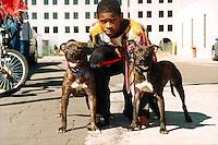 Marcus, AKA Panda Easley and his pups at Blackstone Bicycle Works, Chicago, Illinois, 1999