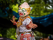 "29 AUGUST 2105 - KO KRET, NONTHABURI, THAILAND:  A Thai classical dancer in the role of Hanuman, the Monkey God, performs a scene from the ""Ramakien,"" the Thai version of the Ramayana, on Ko Kret. Ko Kret is a small island in the Chao Phraya River in Nonthaburi province north of Bangkok. It is some 2 km long and 1 km wide. It has seven main villages, the largest and most populous being Ban Mon. Ko Kret was created in 1722 when a canal was dug in the Chao Phraya River to bypass a bend. Most of the people on the island are ethnically Mon, from the hills of western Thailand and eastern Myanmar (Burma). The island is popular as a weekend daytrip from Bangkok. The island is famous for the Mon style pottery made on the island.   PHOTO BY JACK KURTZ"