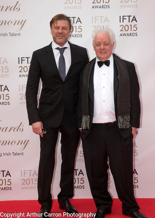 24/5/15 Sean Bean with Jim Sheridan pictured on the red carpet at the IFTA Awards at the Mansion House in Dublin. Picture: Arthur Carron
