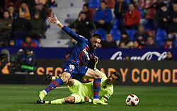 January 10, 2019 - Valencia, Valencia, Spain - Erick Cabaco of Levante UD and Philippe Coutinho of FC Barcelona during the Spanish Copa del Rey match between Levante and Barcelona at Ciutat de Valencia Stadium on Jenuary 10, 2019 in Valencia, Spain. (Credit Image: © AFP7 via ZUMA Wire)