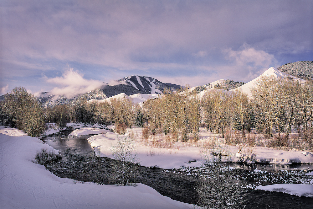 Edition of 35 includes all sizes<br /> Magical Morning Light as a Winter Storms Lifts Revealing Sun Valley's Baldy Mountain from North of Ketchum on the Wood River