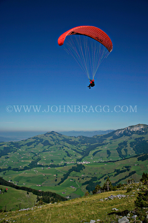 Paragliding in Ebenalp, Switzerland.