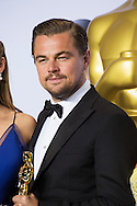"""88th Academy Awards press room.<br /> Actor in a leading role winner Leonardo DiCaprio for the film """"The Revenant."""""""