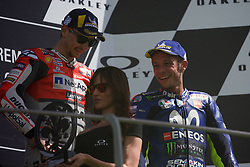 June 3, 2018 - Mugello, FI, Italy - Jorge Lorenzo of Ducati Team and Valentino Rossi of Movistar Yamaha MotoGP on the podium after the MotoGP Oakley Grand Prix of Italy, at International  Circuit of Mugello, on May 31, 2018 in Mugello, Italy  (Credit Image: © Danilo Di Giovanni/NurPhoto via ZUMA Press)