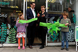 © Licensed to London News Pictures. 10/04/2015.Bristol, City of Bristol. Green Party MP from brighton, Caroline Lucas, visits Bristol West Candidate Darren Hall at the opening of the Green Party Shop on GlouchesterRoad. Photo credit : Jon Kent/LNP