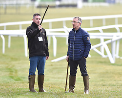 Cheltenham clerk of the course Simon Claisse (right) on the gallops at Cheltenham Racecourse during a preview day ahead of the 2018 Cheltenham Festival meeting.