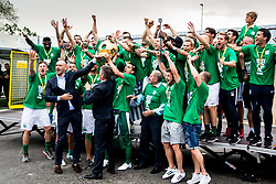 NK Olimpija players celebrate after they became Slovenian National Champion 2018 after the football match between NK Domzale and NK Olimpija Ljubljana in 36th Round of Prva liga Telekom Slovenije 2017/18, on May 27, 2018 in Sports park Domzale, Domzale, Slovenia. Photo by Ziga Zupan / Sportida