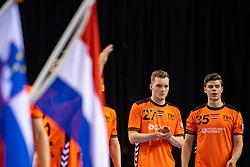 11-04-2019 NED: Netherlands - Slovenia, Almere<br /> Third match 2020 men European Championship Qualifiers in Topsportcentrum in Almere. Slovenia win 26-27 / Alec Smit #27 of Netherlands, Rutger ten Velde #35 of Netherlands