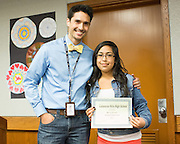 Alyssa Resendez poses for a photo with math teacher Paul Dietrich after receiving an Academic Achievement award in Algebra I during the Calaveras Hills High School Awards Night & Art Show at Calaveras Hills High School in Milpitas, California, on May 7, 2014. (Stan Olszewski/SOSKIphoto)