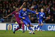 Marko Grujic of Cardiff city is fouled by Fernandinho of Manchester city for which he gets a booking. The Emirates FA Cup, 4th round match, Cardiff city v Manchester City at the Cardiff City Stadium in Cardiff, South Wales on Saturday 28th January 2018.<br /> pic by Andrew Orchard, Andrew Orchard sports photography.